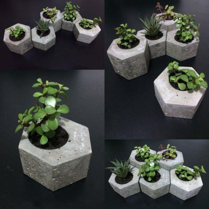 como hacer macetas de cemento, concreto u hormigón   artesanías