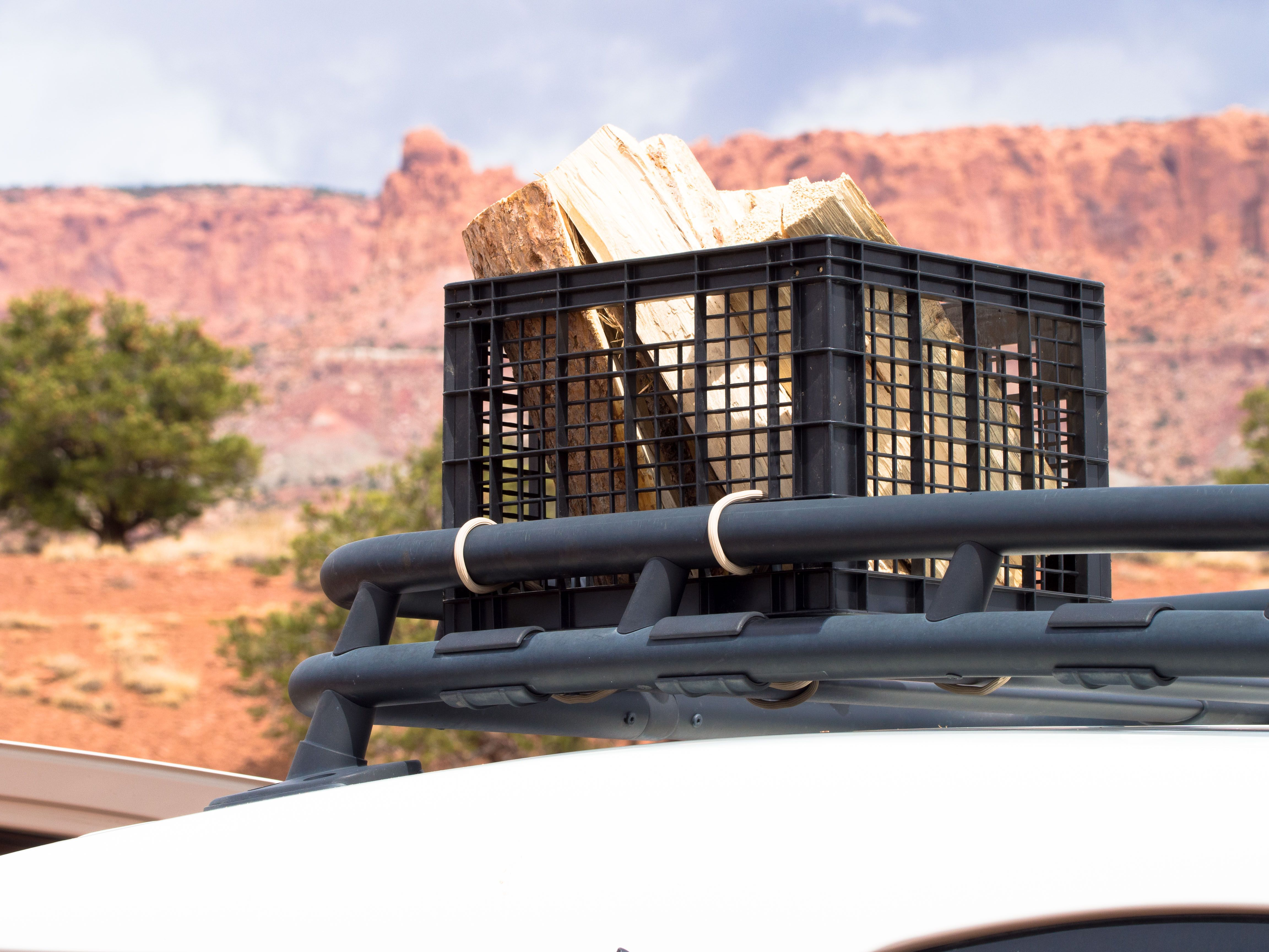 Want To Add Some Storage Space To The Roof Rack On Your Car Try Using A Few Gear Ties To Attach A Milk Carton It Works Gre Gear Ties Storage Spaces
