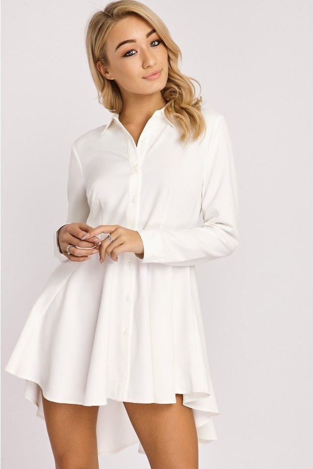 b1ed8610f59b KARINA WHITE SKATER SHIRT DRESS