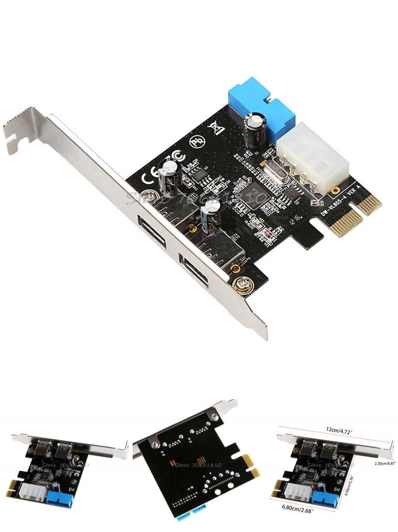 2 Ports PCI Express USB 3.0 Front Panel with Control Card Adapter 4-Pin /& 20 Pin