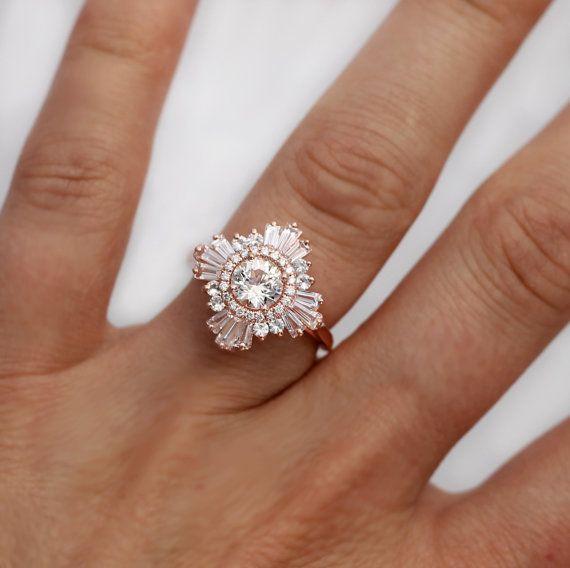 Mid Gatsby Ring Art Deco Engagement Custom Made Vintage Anniversary White Sapphires Diamonds Moissanite Morganite Black Diamonds Art Deco Sapphire Ring White Sapphire Ring Jewelry