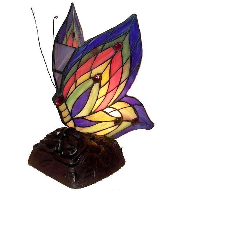 Butterfly Accent Lamp Gorgeous Multi Color Light Fixture Table Top Tiffany Style | eBay