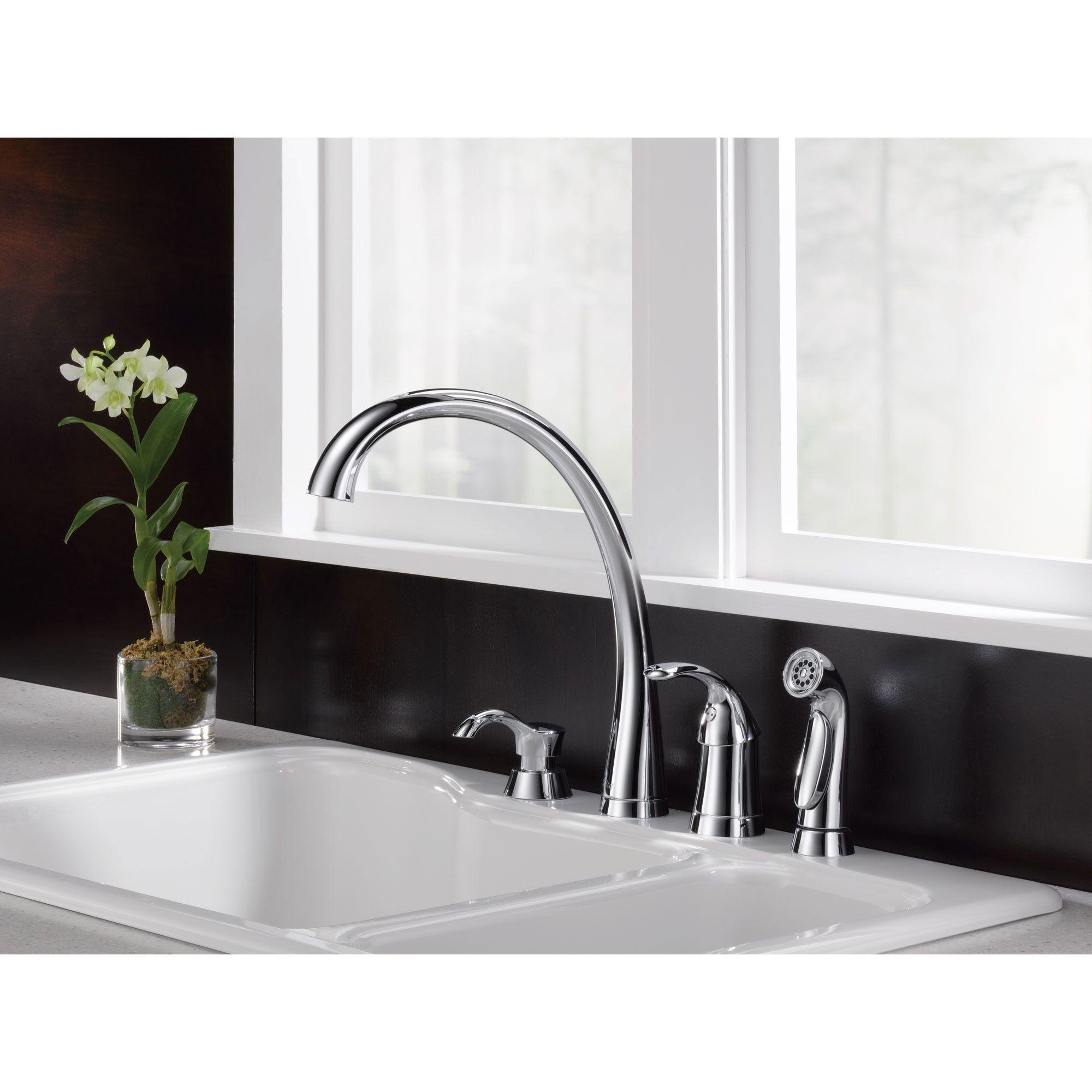 Delta Chrome Finish Pilar Modern Single Handle Kitchen Sink Faucet