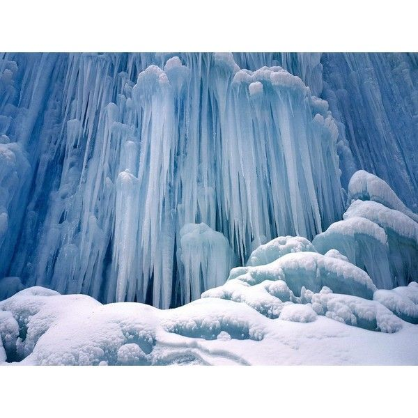 Icicles Yoho National Park of Canada wallpaper ❤ liked on Polyvore featuring backgrounds, winter, snow, icicle and photos