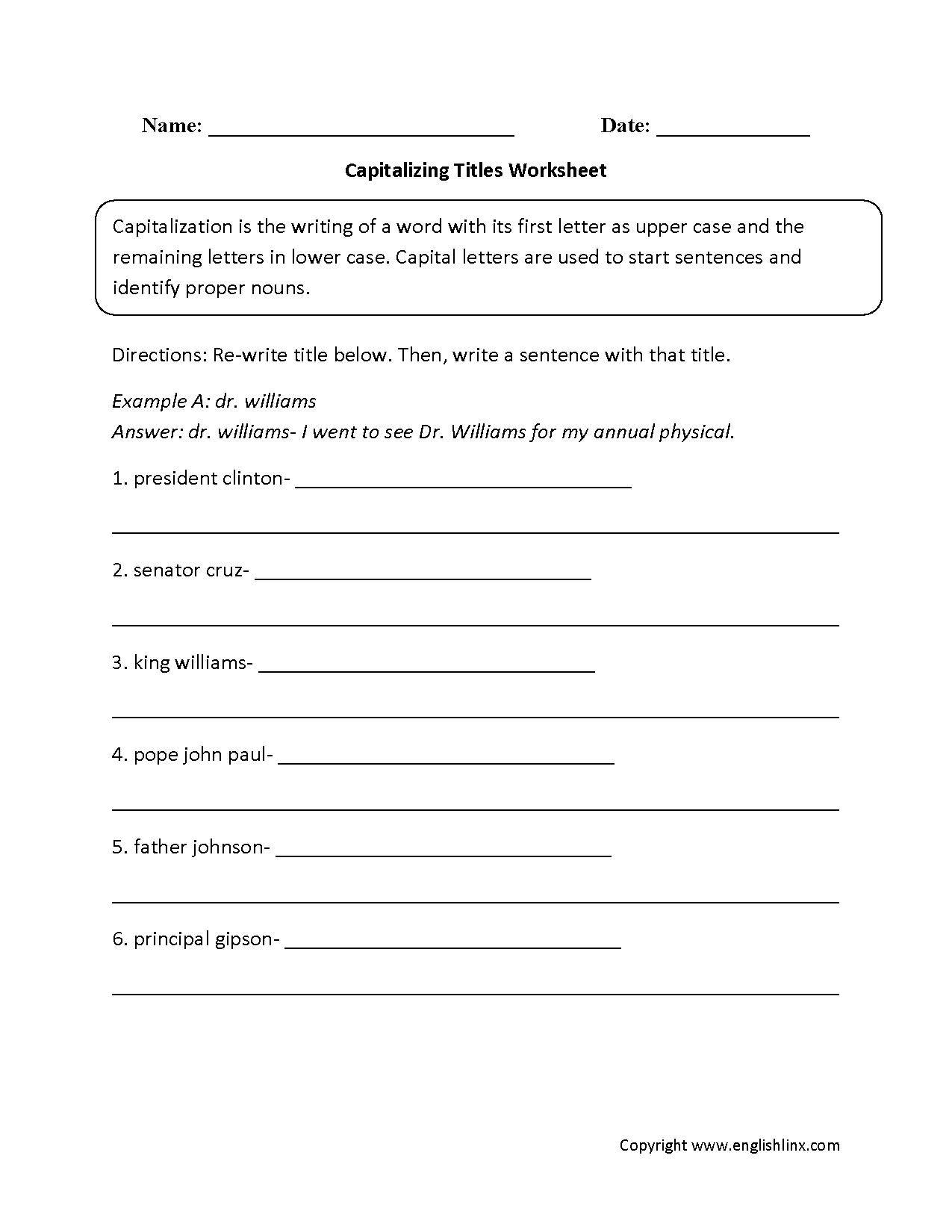 Englishlinx.com   Capitalization Worksheets   Capitalization worksheets [ 1650 x 1275 Pixel ]