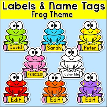 Frog Theme Labels and Name Tags Preschool education Classroom