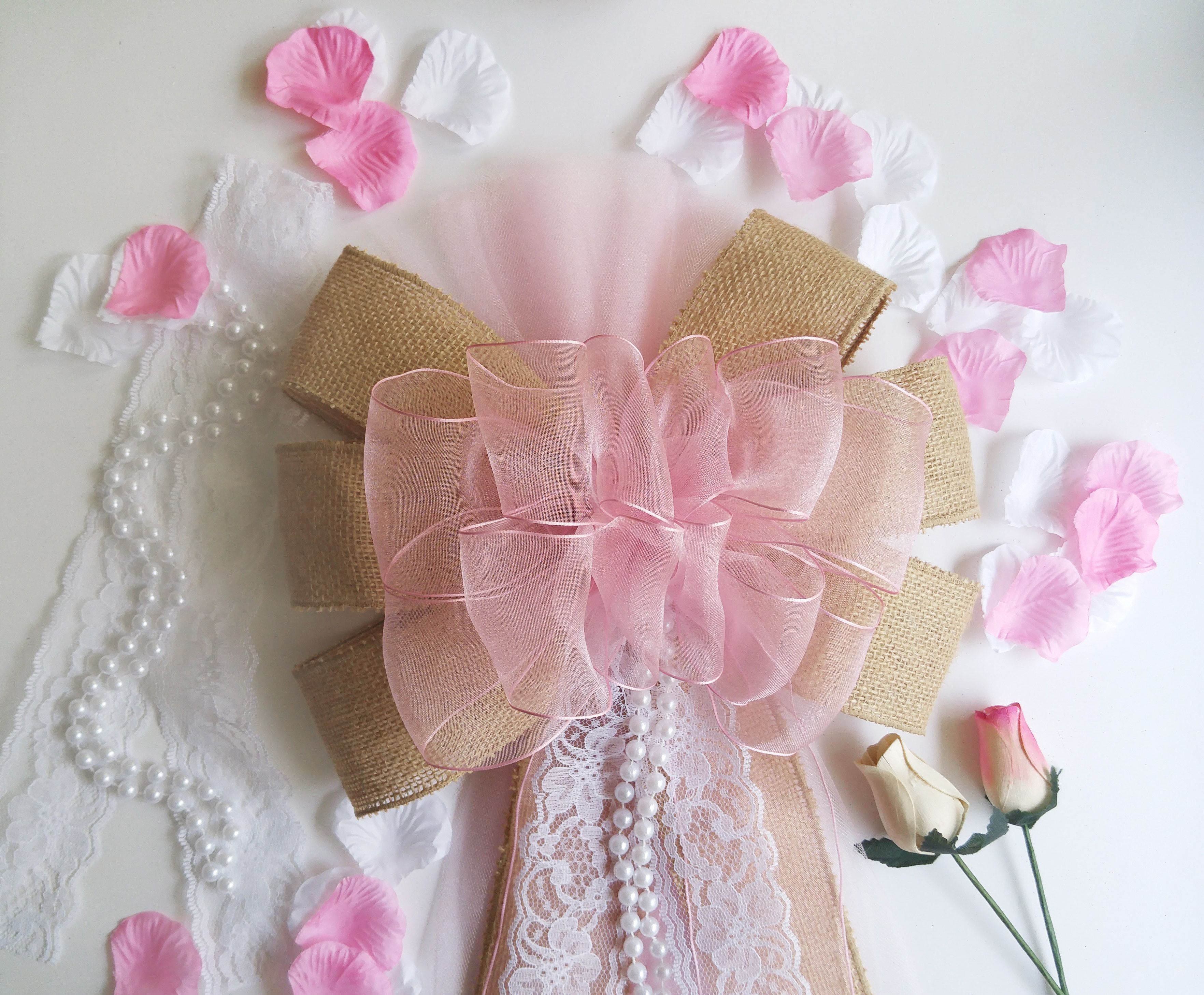 This graceful Pink Burlap and Lace Wedding Bow will add a light ...