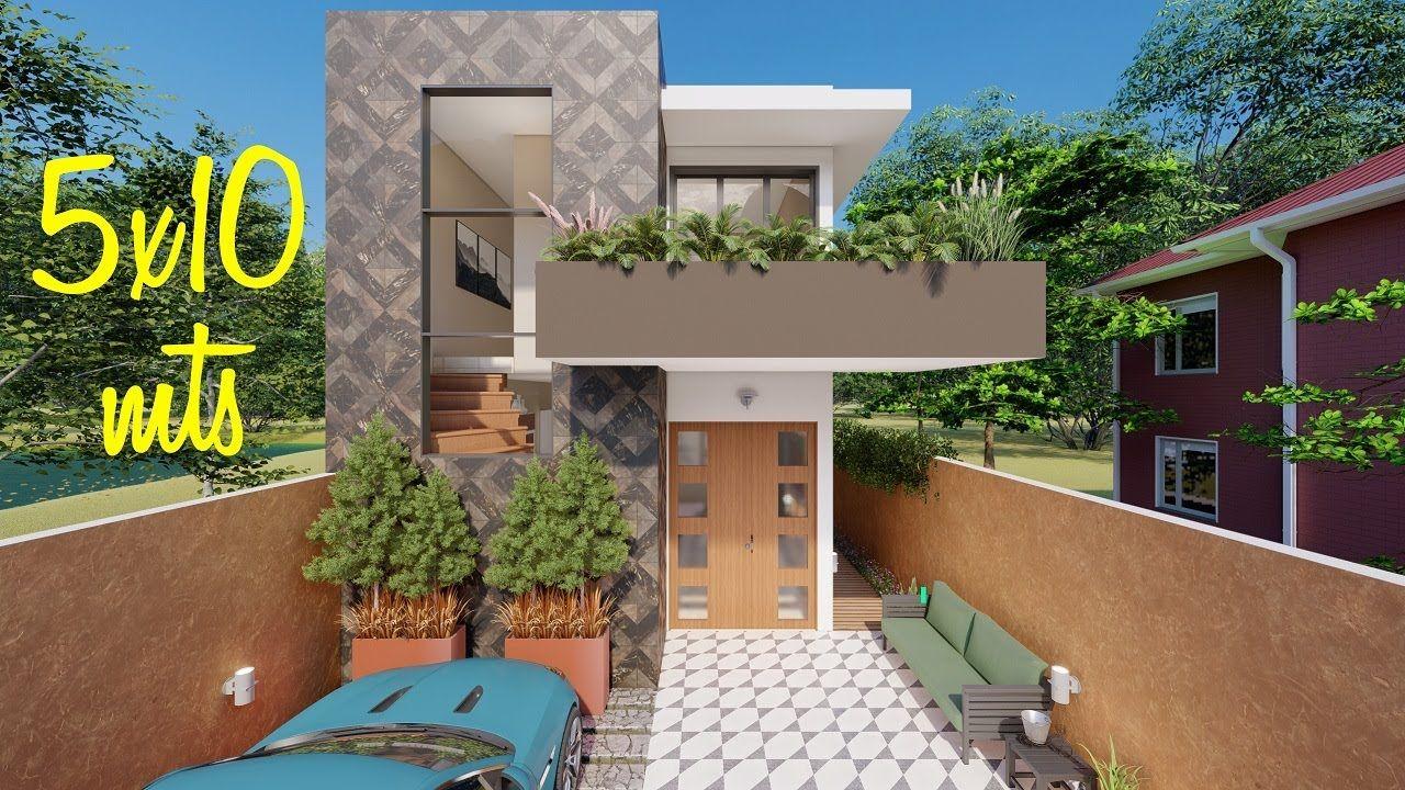 Plano De Casa De 5x10 Metros Con 2 Dormitorios Y Piscina En 2020
