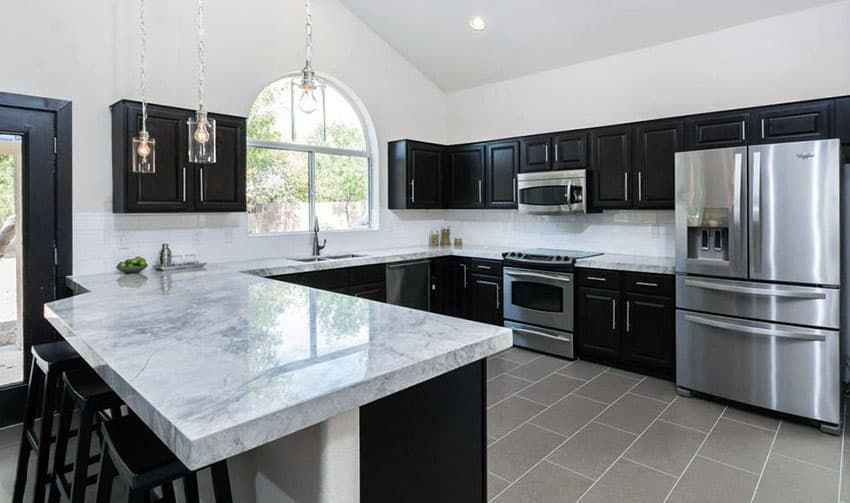 Download Wallpaper Black Kitchen Cabinets With White Marble Countertops