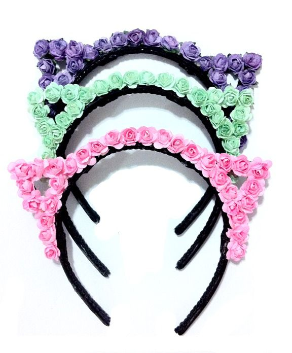 pastel-goth-princess: lovely floral kitty- ear headbands!  ❤