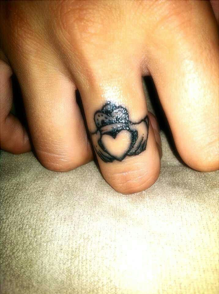 I don't even like tattoos but I think this could be cute. Claddagh, ring, tattoo, wedding ring