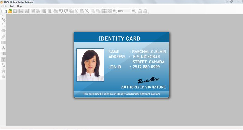 Thank You Cards Tool Produces Dazzling Horizontal Card Templates Student Template Employee Id Card Words Id Card Template