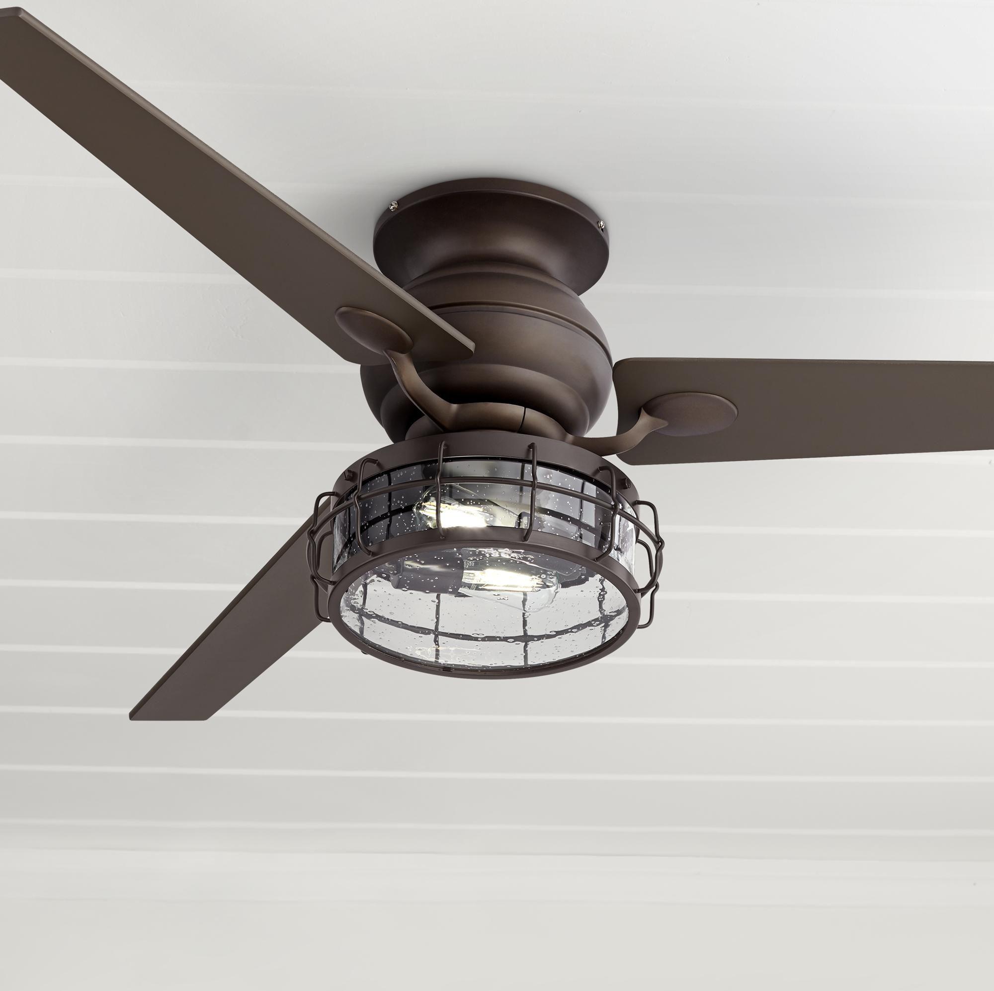 60 Inch Spyder Oil Rubbed Bronze Seedy Glass Led Ceiling Fan Di