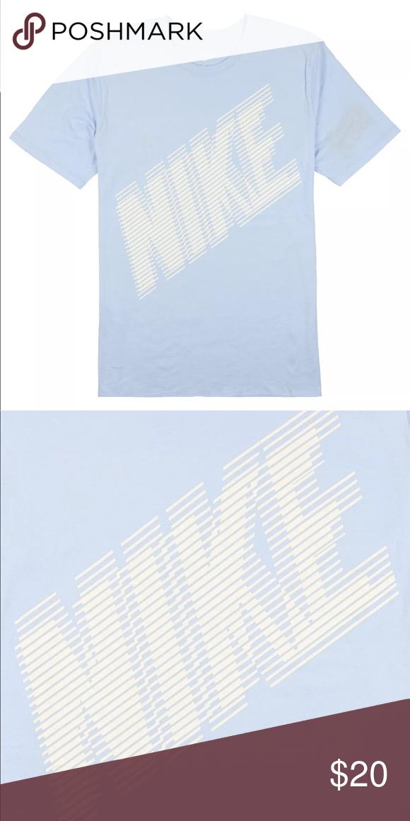 Nike Block Logo T Shirt Light Blue White Blue And White Tshirt Logo Crew Neck Tee