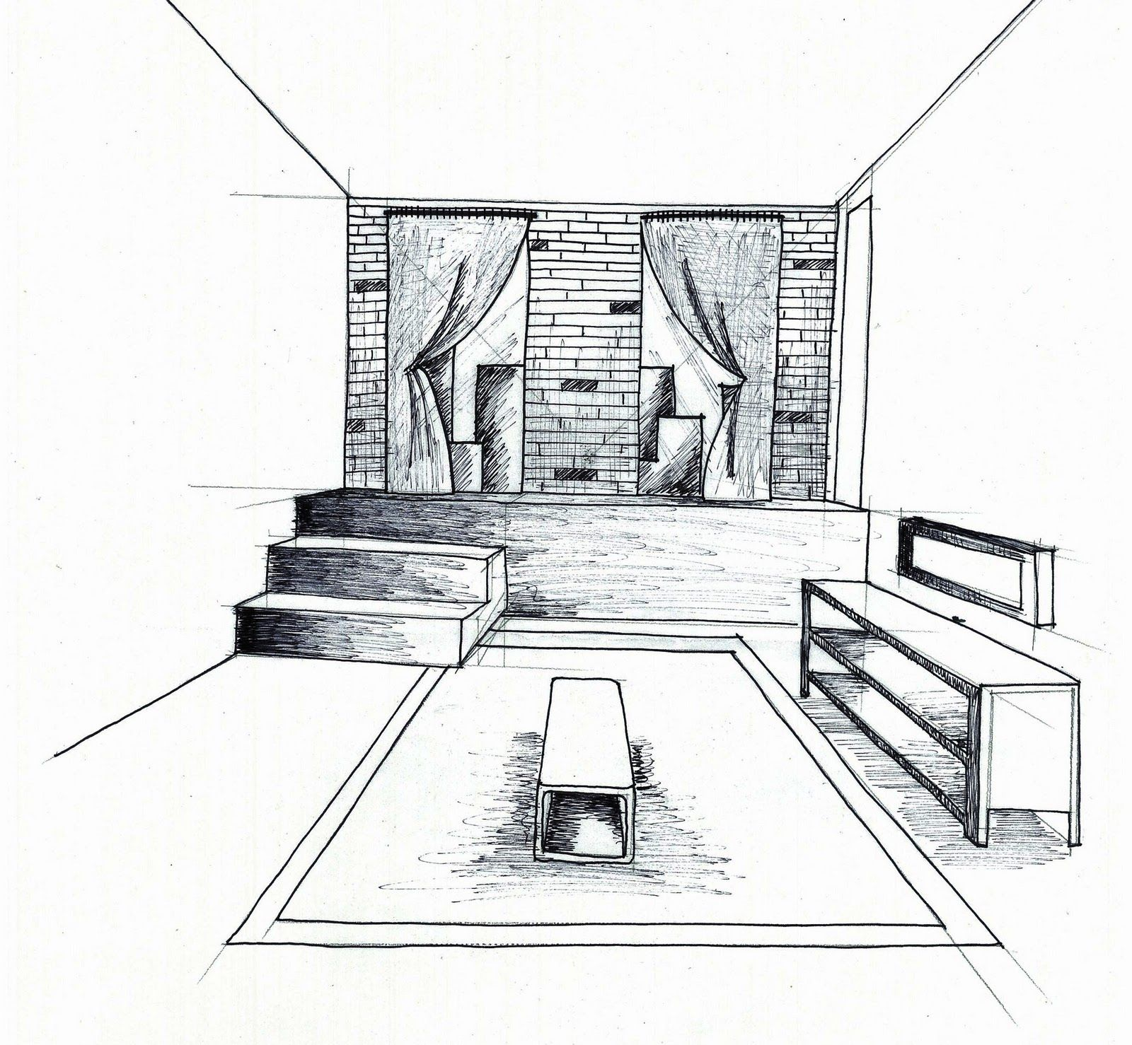 Simple Bedroom Drawing 1 Point Of View Room In Drawing  Point Perspective Drawing