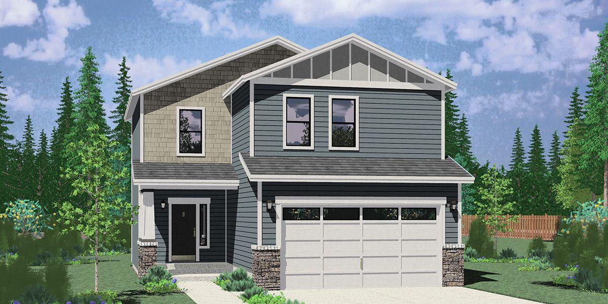 Photo of Schmaler Hausplan mit 5 Schlafzimmern, Garage für zwei Autos und Keller 1019