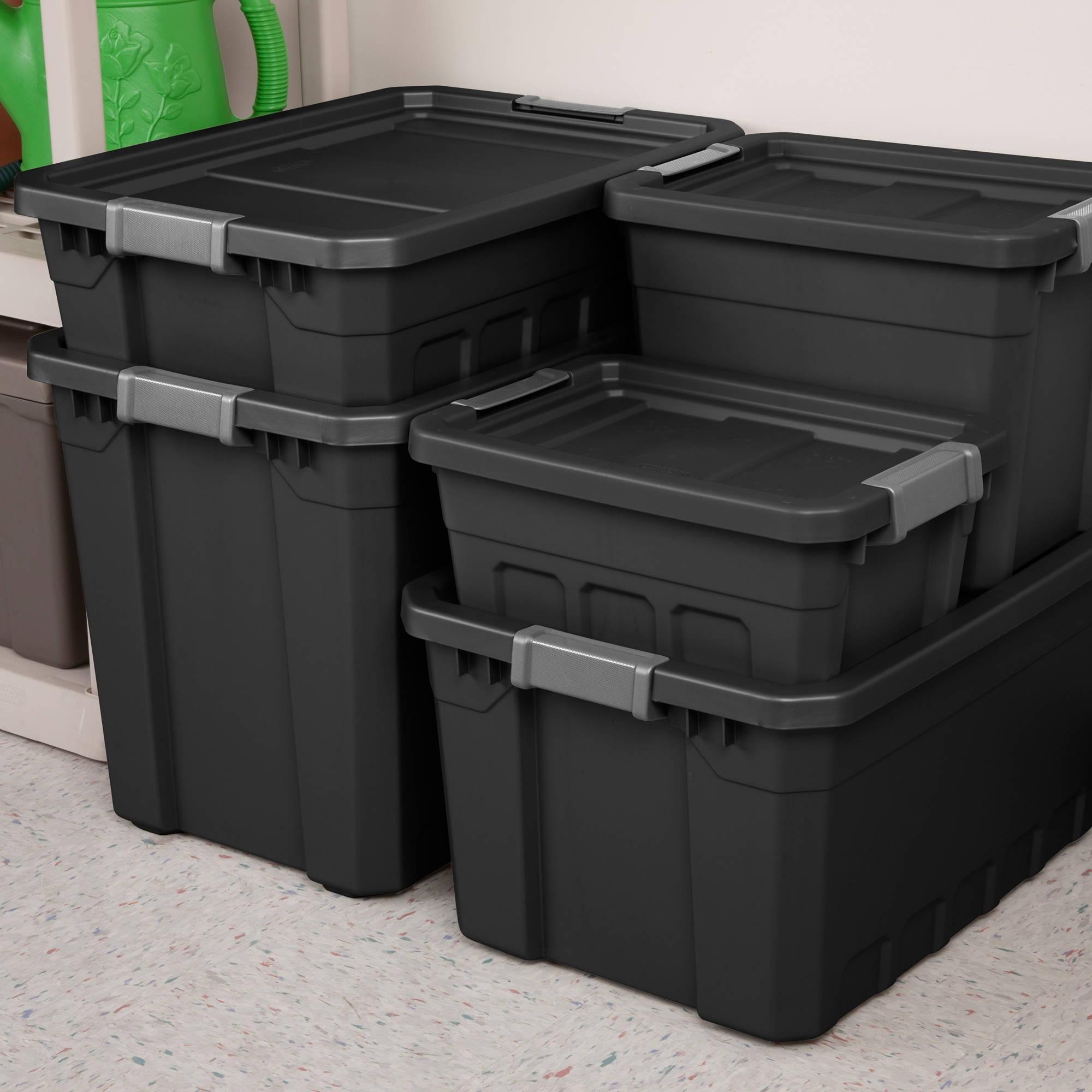 Sterilite 19 Gallon Stacker Tote Black Case of 6 Walmart
