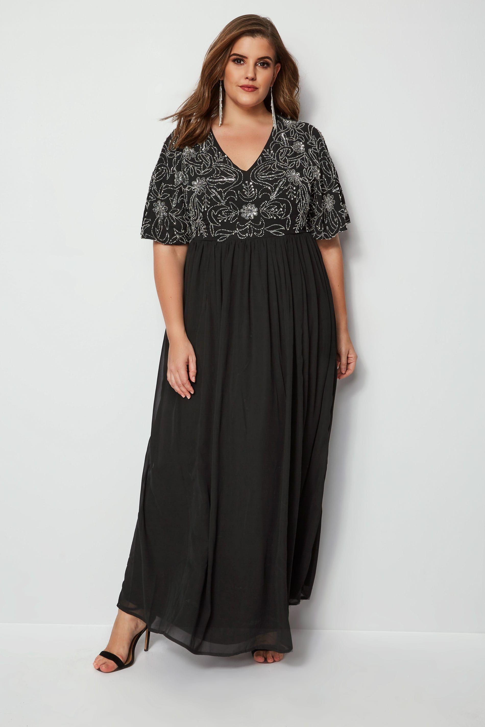 LUXE Black Sequin Embellished Fully Lined Cold Shoulder