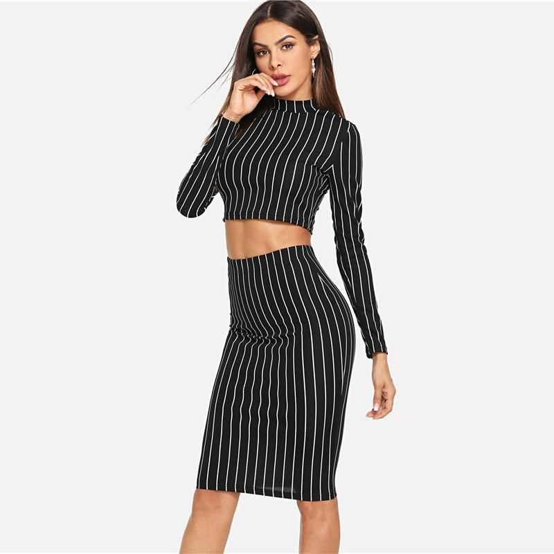 Black And White 2 Piece Set Women S Striped Long Sleeve Crop Top