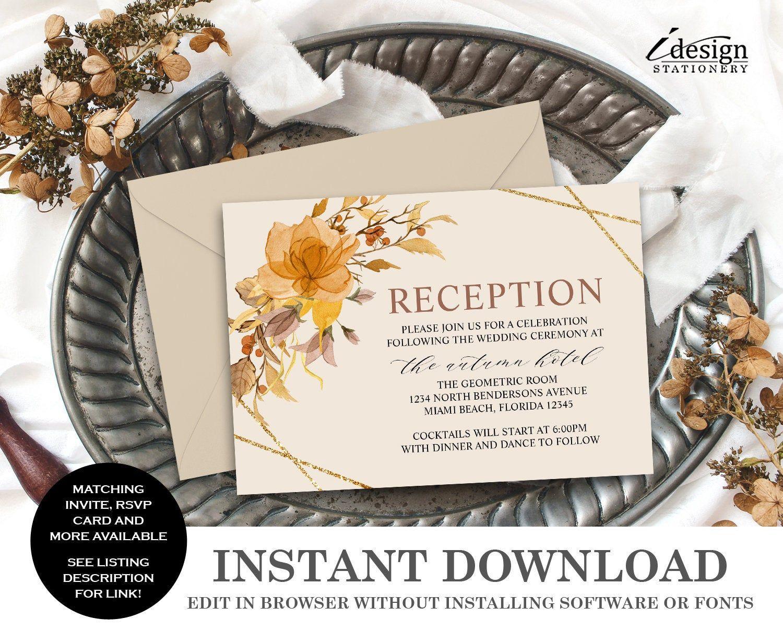 Fall Wedding Reception Invitation Enclosure Card Template Etsy Reception Invitations Wedding Reception Invitations Fall Wedding Invitations