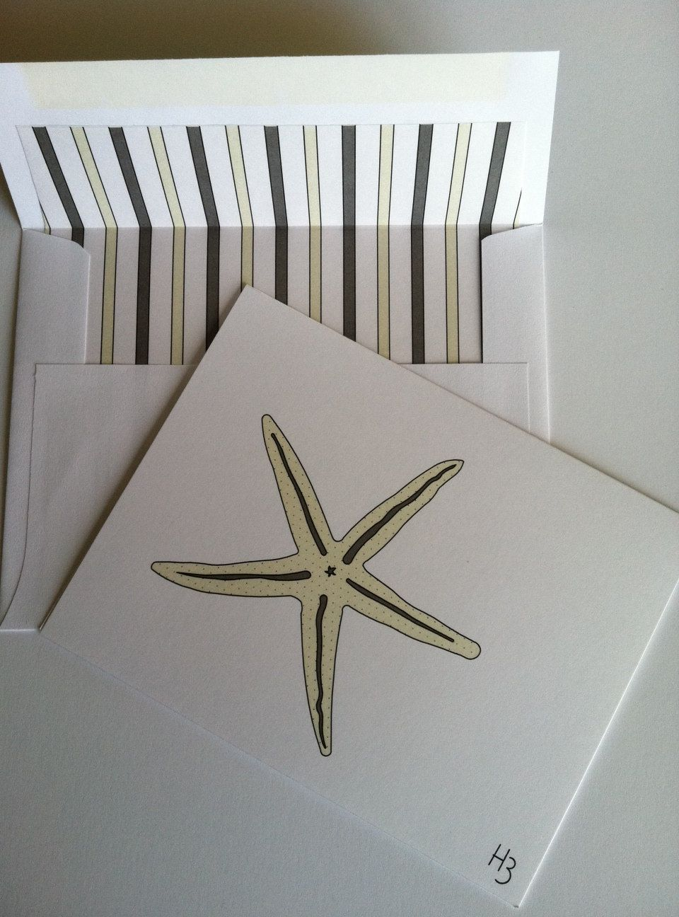 Sea Star Note Card with coordinating striped lined white envelope. $2.75, via Etsy.