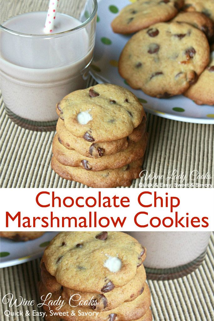 Chocolate Chip Marshmallow Cookies #chocolatemarshmallowcookies