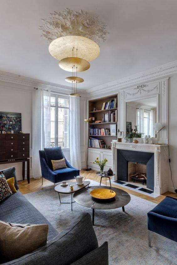 la rosace se modernise gr ce un luminaire contemporain en laiton salon s jour. Black Bedroom Furniture Sets. Home Design Ideas
