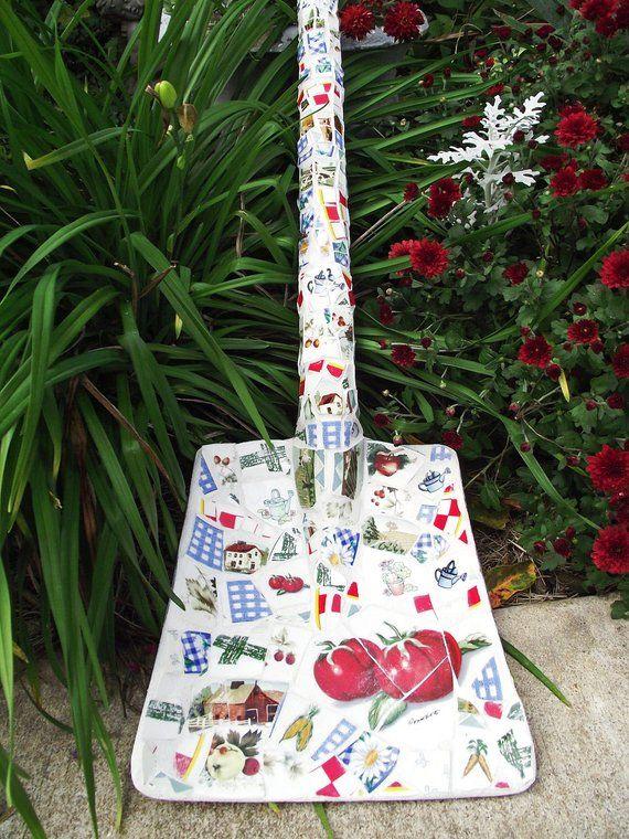 MADE TO ORDER Broken China Mosaic Shovel Garden Decor