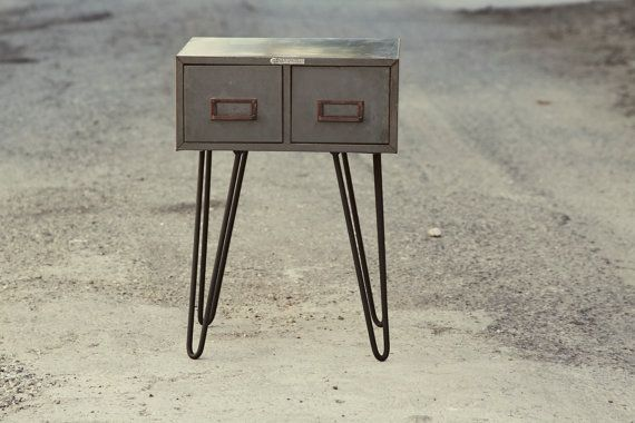 Grey Metal File Cabinet Side Table By Rustandtimber 175 00