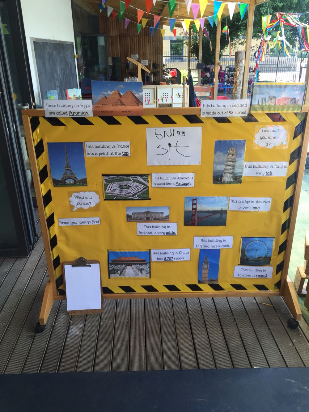 Building site display for the nursery reception outside for Builders in my area