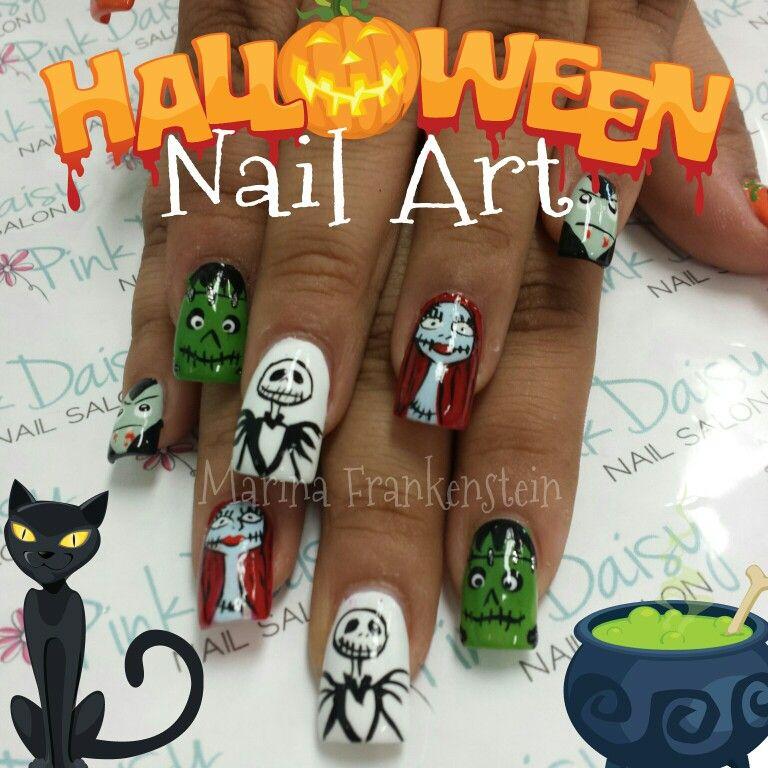 Halloween Nail Art Nail Design Jack Skellington Sally Nightmare ...