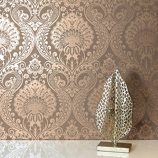 Arthouse Luxe Damask Wallpaper Chocolate Damask Wallpaper