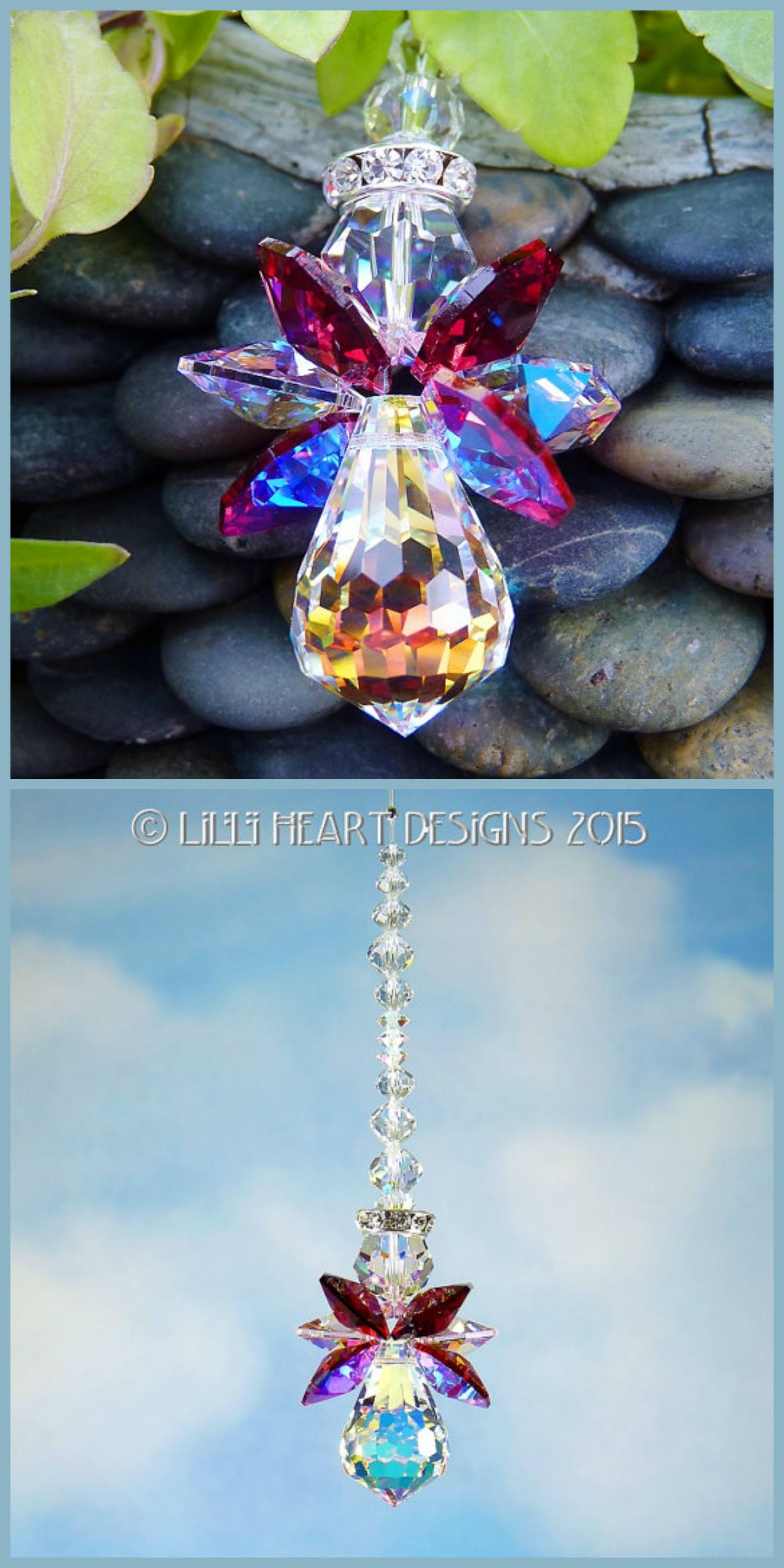 Swarovski Crystal Angel Suncatcher Car Charm Ornament Window