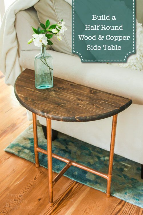 Half Round Copper Wood Side Table