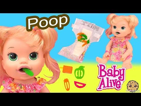 Baby Alive Super Snacks Snackin Sara Poops Wets Diaper Feed Doh Food Doll Toy Play Video Baby Alive Doll Toys Shoppies Dolls