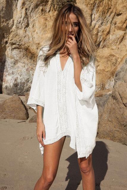 02cf2dc17b Oversize lace splice beach dress output swimwear batwing sleeve big size  sexy hot summer dresses women beachwear dresses