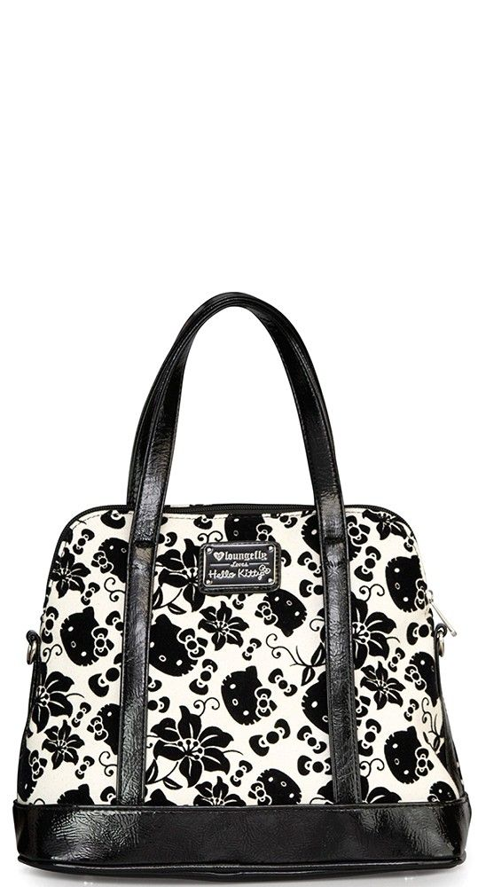 Loungefly Hello Kitty Floral Crossbody Bag in Black and Cream ... 133fe9dde5665