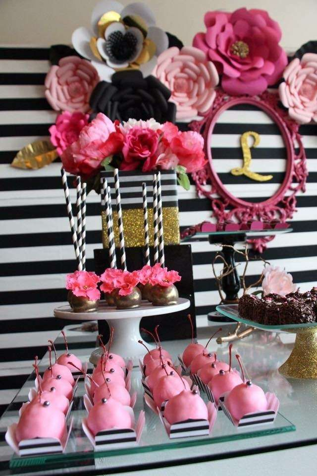 Pink sweets at a black white pink and gold birthday party see more party ideas at catchmyparty com