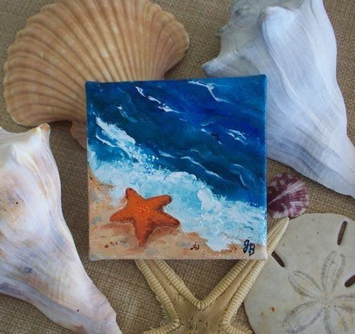 From A Series Of 3 X3 Mini Paintings Shells At The Beach This Shows Starfish Waters Edge Tiny Canvas Is On Wood Stretc