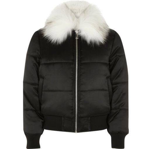 6a150ba9af7 Checkout this Girls black puffer coat with faux fur trim from River Island