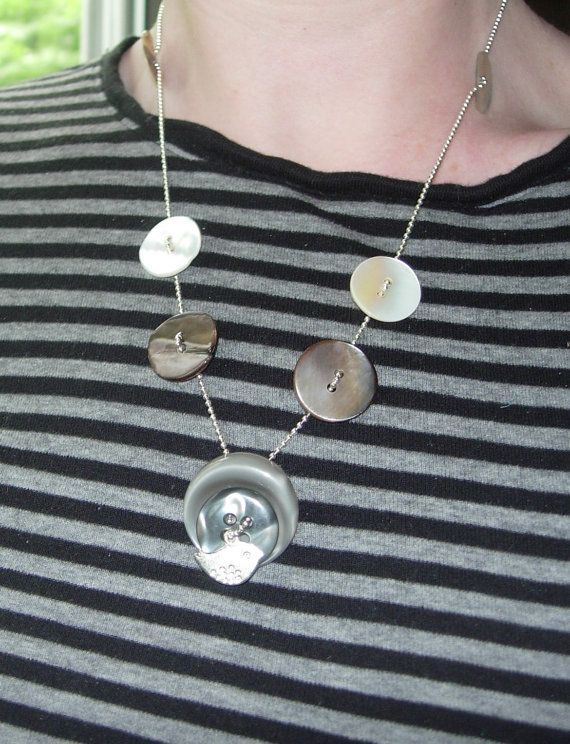 OOAK Gray Taupe and Mother of pearl buttons and  by wisedup1, $10.00