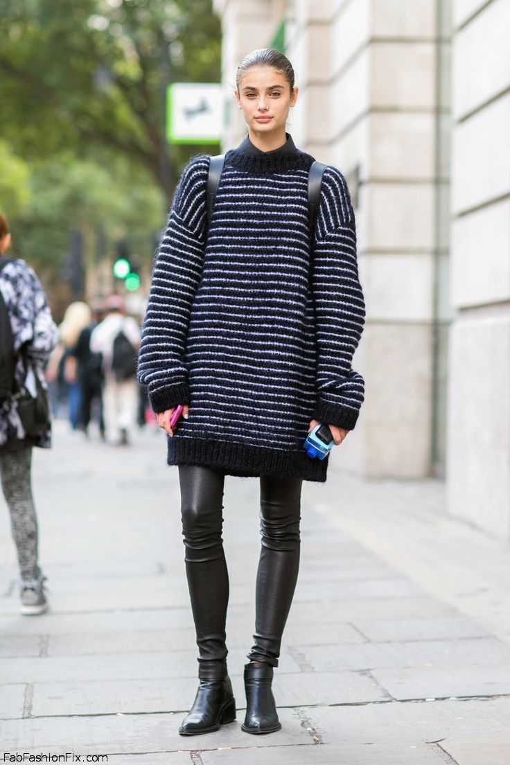 6eb9331bbc Taylor Hill street style with oversized sweater and leather pants.   taylorhill