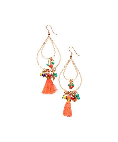 This Goldtone & Orange Tassel Drop Earrings is perfect! #zulilyfinds