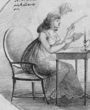 teckning av brevskrivande kvinna