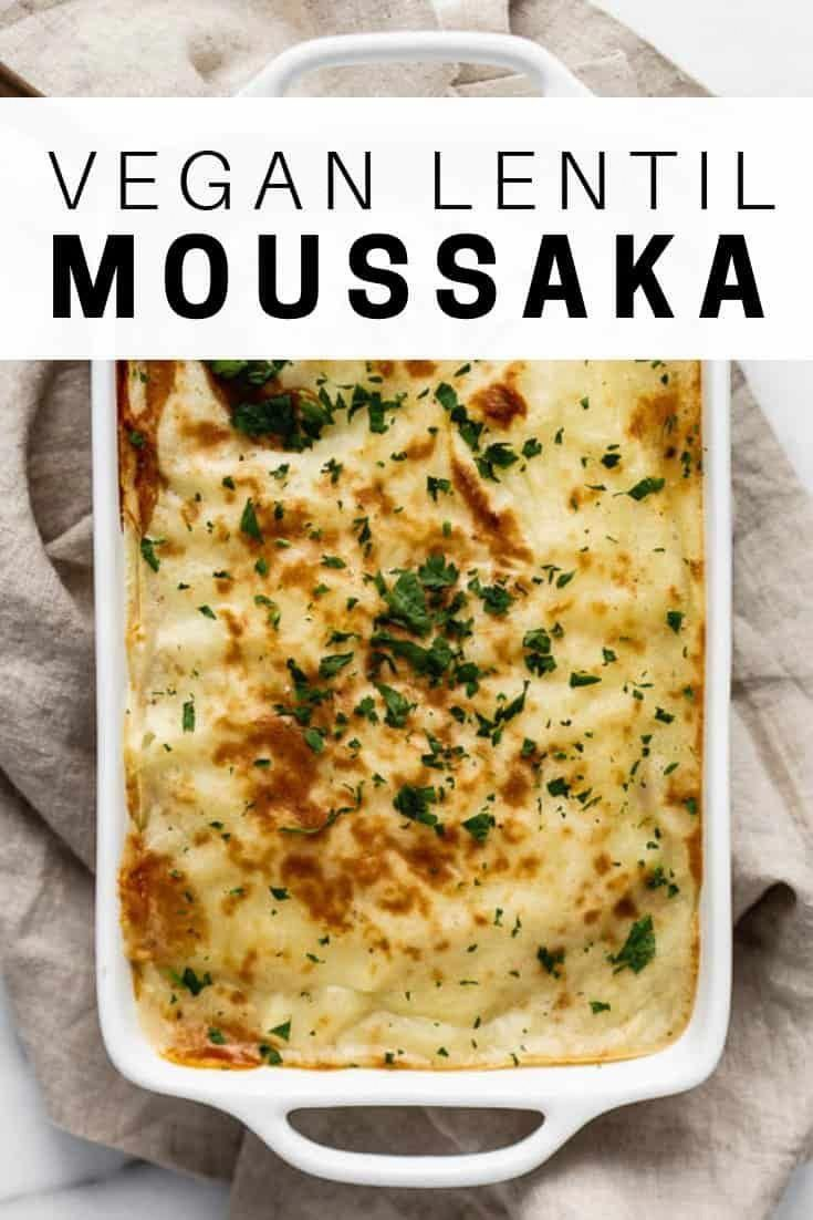 This vegan lentil moussaka is twist on the classic greek dish. It's made with layers of eggplant, lentils, and mashed potatoes for a delicious weeknight dinner recipe!
