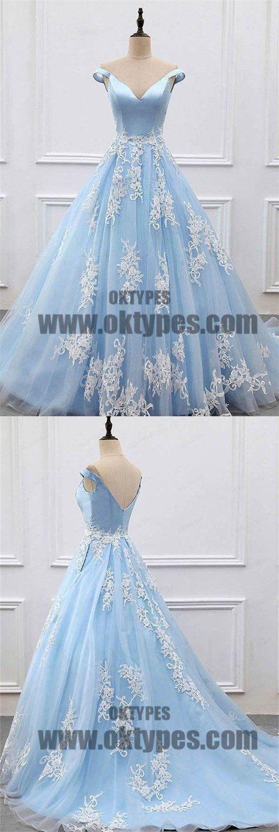 Charming light blue top satin off the shoulder aline long prom