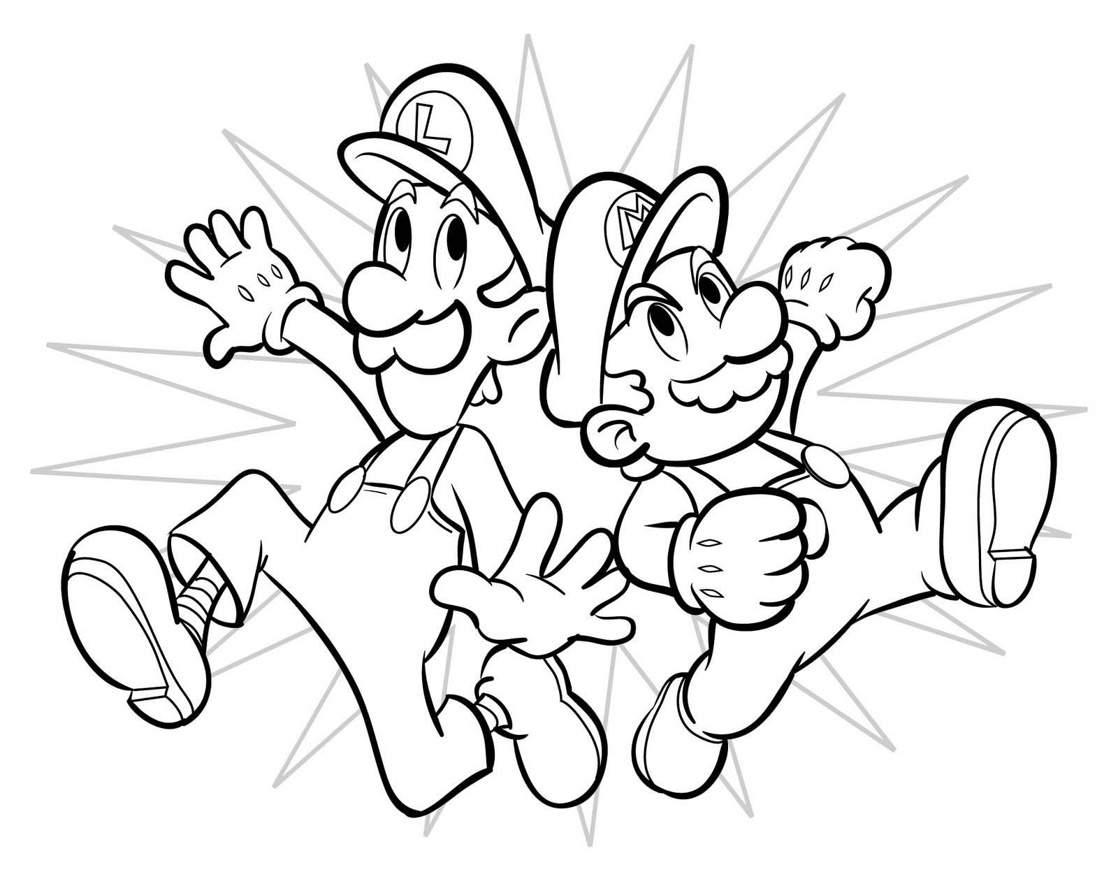 Mario And Luigi Superstar Saga Coloring Pages Boys Super Bros Free Online Printable
