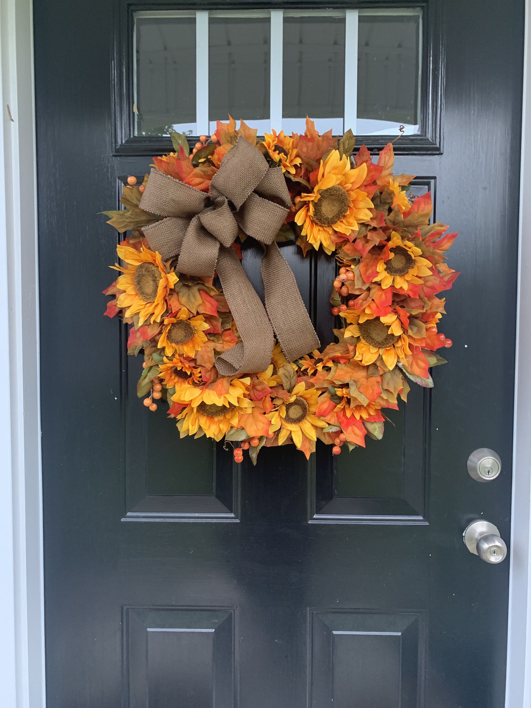Fall wreath for front door, Fall Decor, Home Decor, Sunflower Wreath, Doorhanger, Door Decor, Housewarming Gift, Thanksgiving Wreath images