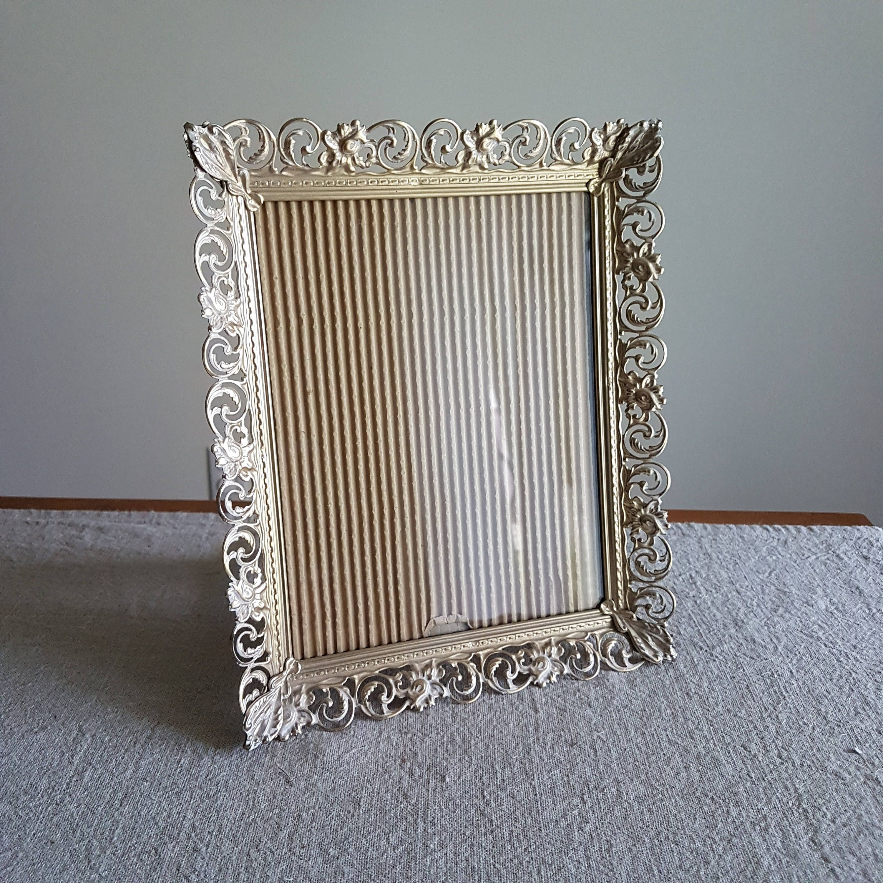 8 x 10 gold tone metal picture frame ornate filigree floral 8 x 10 gold tone metal picture frame ornate filigree floral design jeuxipadfo Images