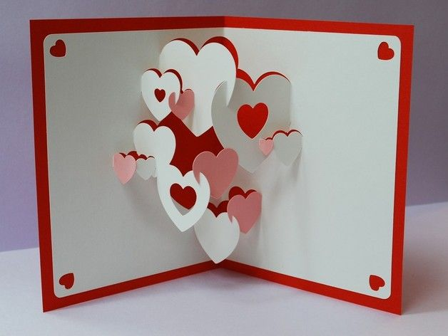 3D Pop Up Christmas Cards | Hearts 3D Pop-up Greeting Card ...